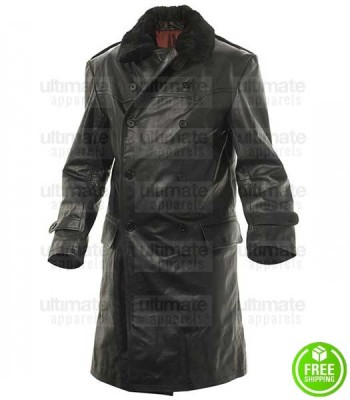 WW2 RUSSIAN NAVY OFFICER STYLE FUR COLLAR BLACK LEATHER COAT