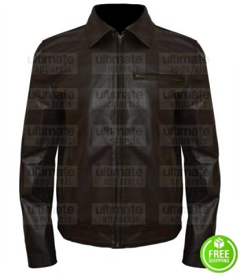 WALKING TALL DWAYNE JOHNSON (CHRIS VAUGHN) BROWN LEATHER JACKET