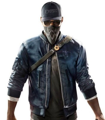 WATCH DOGS 2 MARCUS HOLLOWAY BOMBER LEATHER JACKET