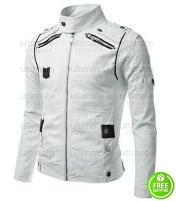 SLIM FIT GENUINE LAMBSKIN WHITE WHITE LEATHER JACKET