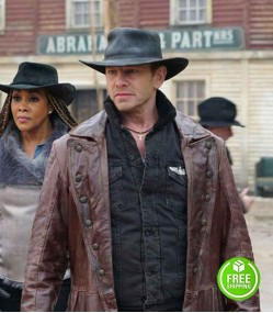 THE LAST SHARKNADO: IT'S ABOUT TIME IAN ZIERING (FIN) BROWN LEATHER COAT