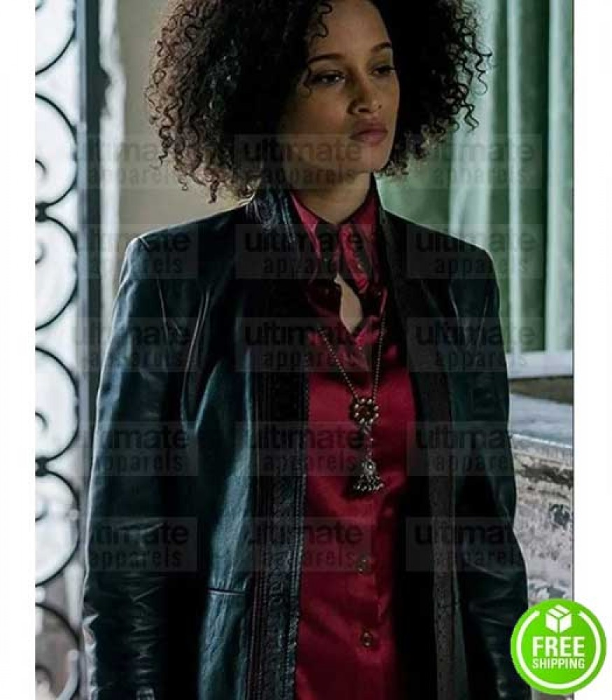 A DISCOVERY OF WITCHES ELARICA JOHNSON (JULIETTE DURAND) BLACK LEATHER JACKET