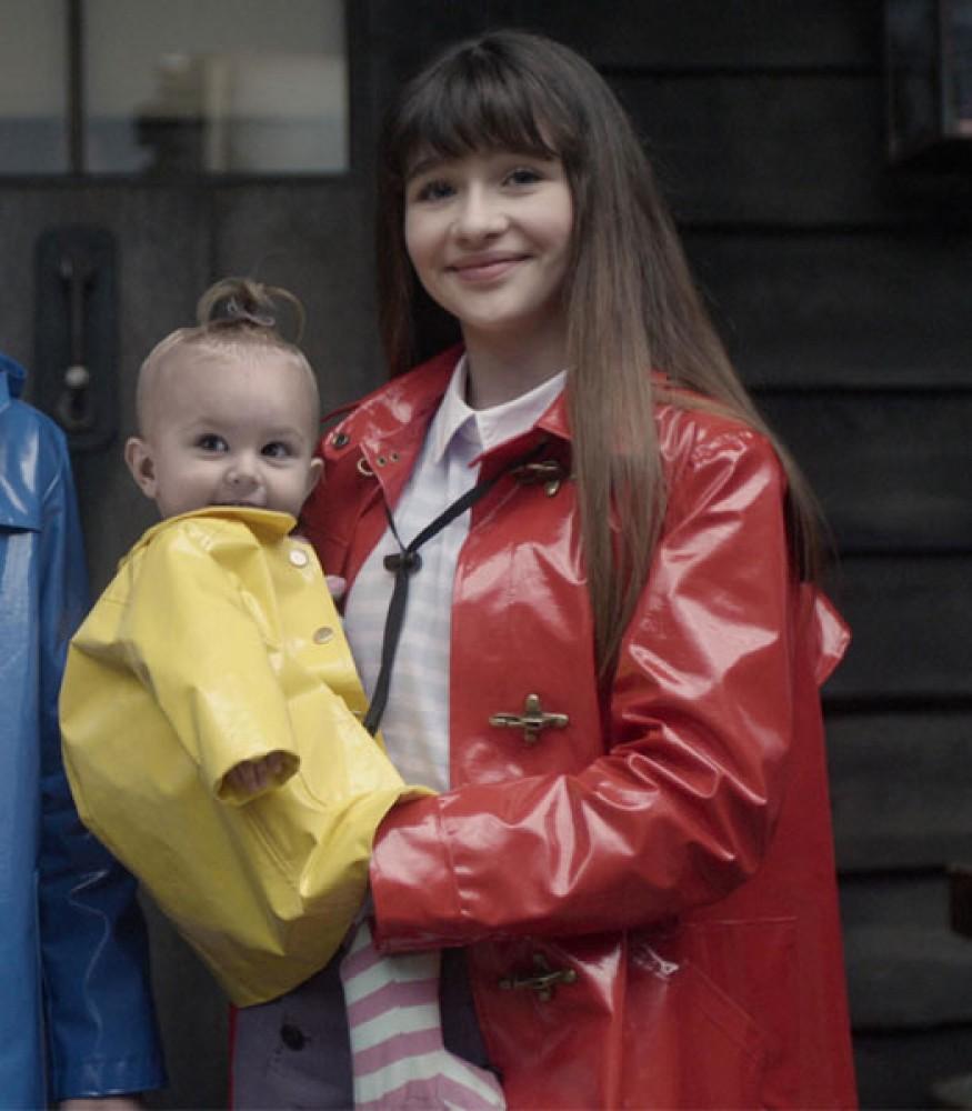 A SERIES OF UNFORTUNATE EVENTS MALINA WEISSMAN RED RAINCOAT JACKET