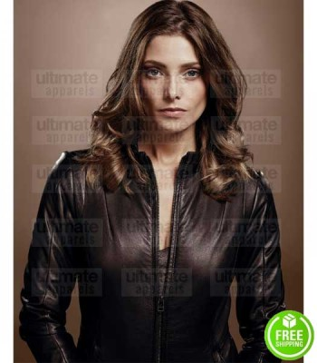 ACCIDENT MAN ASHLEY GREENE (CHARLIE ADAMS) BROWN LEATHER JACKET