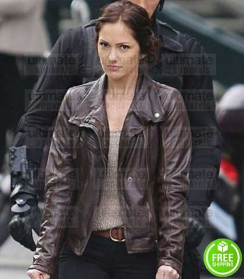 ALMOST HUMAN MINKA KELLY (VALERIE STAHL) BROWN LEATHER JACKET