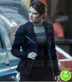 AVENGERS INFINITY WAR COBIE SMULDERS (MARIA HILL) BLACK SUEDE LEATHER JACKET