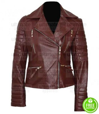 BROOKLYN NINE NINE STEPHANIE BEATRIZ BROWN BIKER JACKET