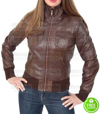 WOMEN'S BROWN LEATHER BOMBER JACKET
