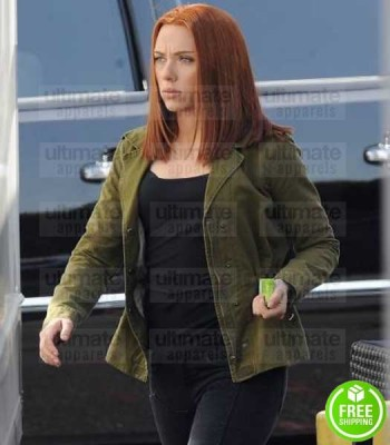 CAPTAIN AMERICA WINTER SOLDIER SCARLETT JOHANSSON (NATASHA) GREEN COTTON JACKET