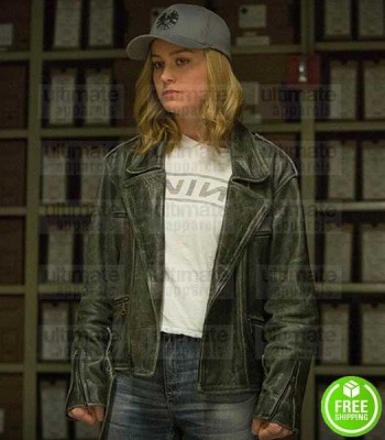CAPTAIN MARVEL BRIE LARSON BLACK LEATHER JACKET
