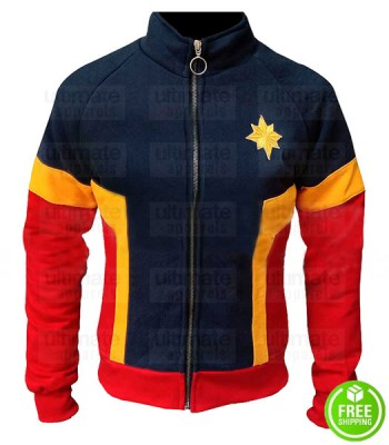 CAPTAIN MARVEL BRIE LARSON COSTUME TRACKSUIT FLEECE JACKET