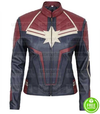 CAPTAIN MARVEL BRIE LARSON (CAROL DANVERS) LEATHER COSTUME JACKET