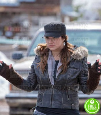 DAUGHTER OF THE WOLF GINA CARANO (CLAIR HAMILTON) FUR HOODIE LEATHER JACKET