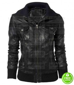 DOUBLE COLLAR BOMBER LEATHER JACKET