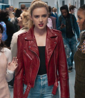 FREAKY KATHRYN NEWTON RED BIKER JACKET