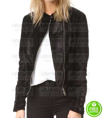 LACEY BLACK SLIM-FIT BIKER VELVET JACKET