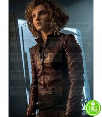GOTHAM CAMREN BICONDOVA (SELINA KYLE) BURGUNDY LEATHER JACKET