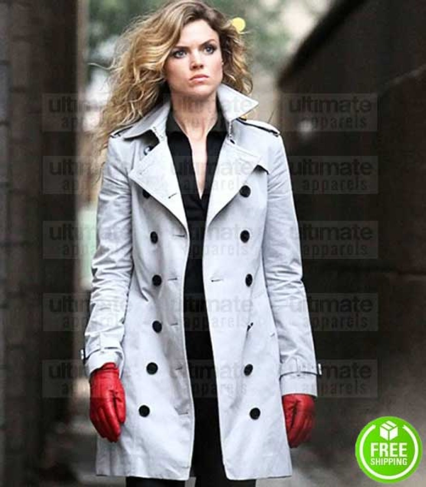 GOTHAM ERIN RICHARDS (BARBARA KEAN) WHITE COTTON COAT