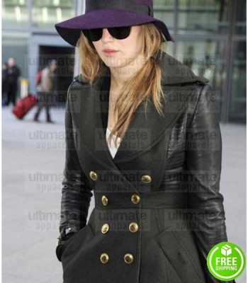 JENNIFER LAWRENCE TRENCH BLACK LEATHER COAT