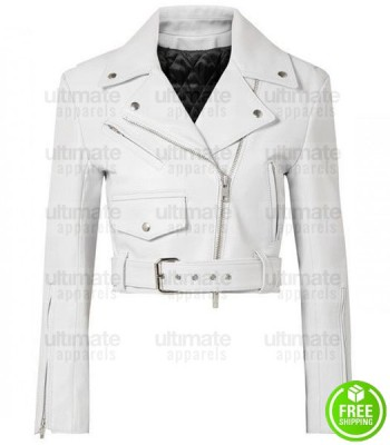 LADIES WHITE CROPPED LEATHER JACKET