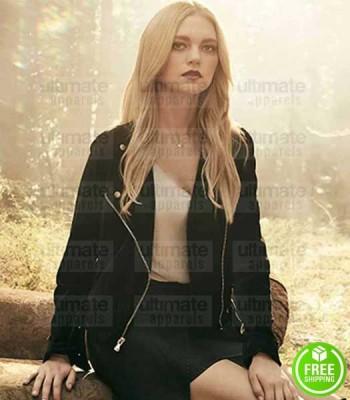 LEGACIES JENNY BOYD (LIZZIE SALTZMAN) BLACK SUEDE LEATHER JACKET
