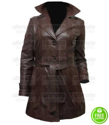 WOMEN'S LONG BROWN LEATHER JACKET