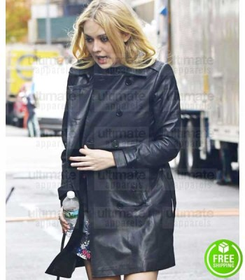 OCEAN'S 8 DAKOTA FANNING (PENELOPE STERN) BLACK LEATHER COAT