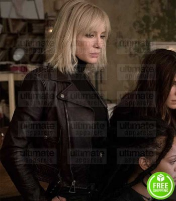 OCEAN'S 8 SANDRA BULLOCK (DEBBIE OCEAN) BLACK BIKER LEATHER JACKET