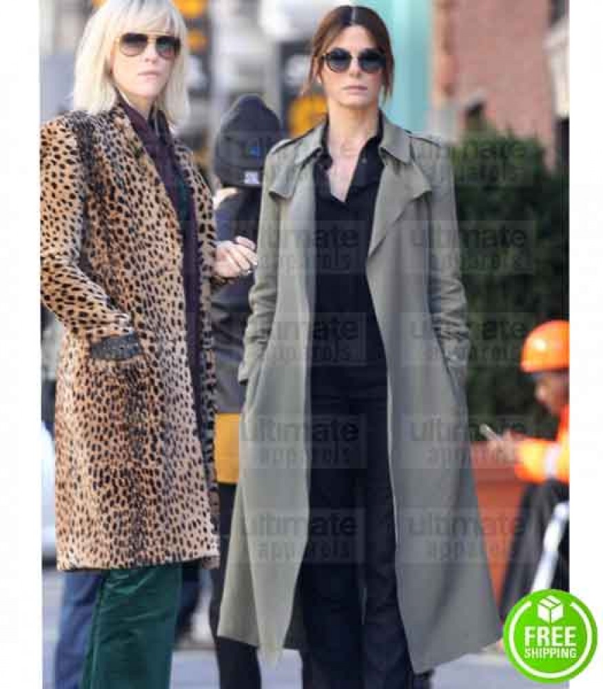 OCEAN'S 8 SANDRA BULLOCK (DEBBIE OCEAN) GREY COTTON TRENCH COAT