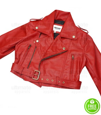 BEBE REXHA RED CROPPED BIKER LEATHER JACKET