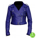 ROYAL BLUE CROPPED BIKER JACKET