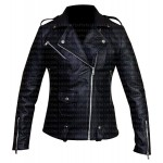 WOMEN'S BIKER BLACK LEATHER JACKET