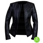 WOMEN'S COLLARLESS BLACK LEATHER JACKET