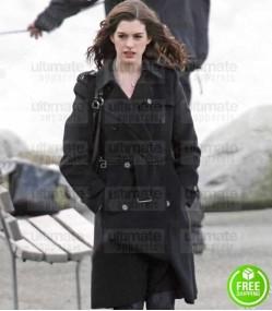 PASSENGERS ANNE HATHAWAY (CLAIRE SUMMERS) BLACK WOOL TRENCH COAT