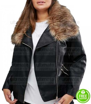 WOMEN'S PLUS SIZE FUR COLLAR LEATHER JACKET