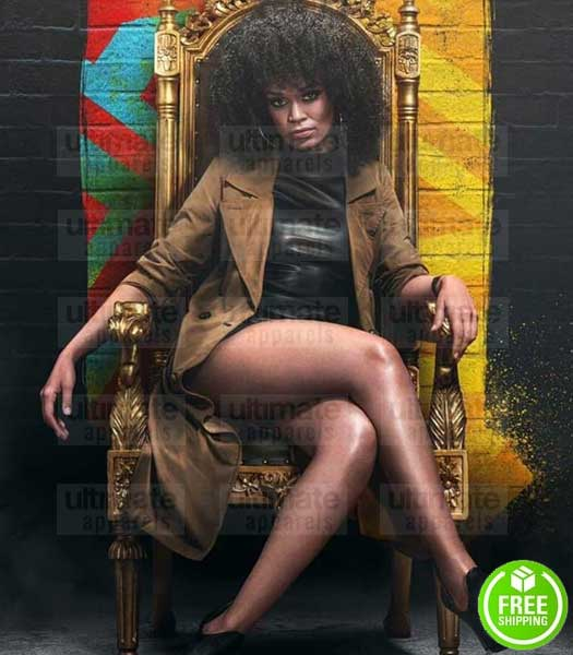 QUEEN SONO PEARL THUSI BROWN SUEDE COAT