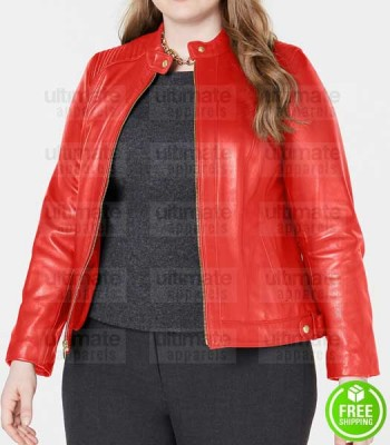 RED LEATHER JACKET PLUS SIZE