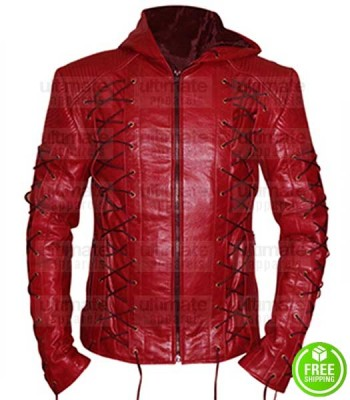 RED SLIM FIT HOODED LEATHER JACKET