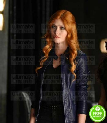 SHADOWHUNTERS KATHERINE MCNAMARA (CLARY FRAY) BLUE LEATHER JACKET