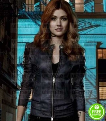 SHADOWHUNTERS KATHERINE MCNAMARA (CLARY FRAY) BLACK LEATHER JACKET
