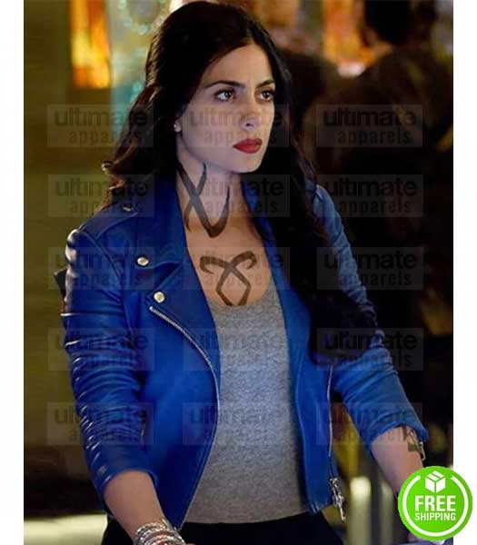 SHADOWHUNTERS EMERAUDE TOUBIA (ISABELLE LIGHTWOOD) BLUE LEATHER JACKET
