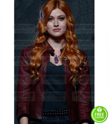 SHADOWHUNTERS KATHERINE MCNAMARA (CLARY FRAY) MARRON LEATHER JACKET