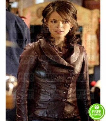 SMALLVILLE KRISTIN KREUK (LANA LANG) BROWN LEATHER JACKET