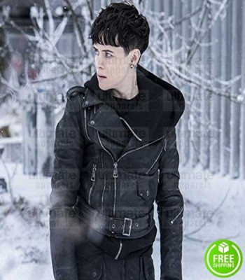 THE GIRL IN THE SPIDER'S WEB CLAIRE FOY BLACK LEATHER JACKET