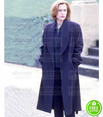 THE X-FILES GILLIAN ANDERSON (DANA SCULLY) BLUE WOOL COAT
