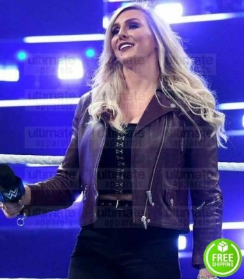 WWE CHARLOTTE FLAIR BROWN LEATHER JACKET