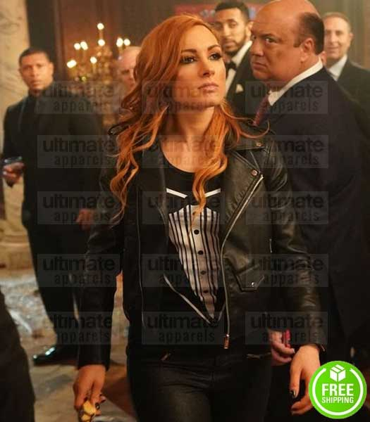 WWE RAW BECKY LYNCH BLACK LEATHER BIKER JACKET
