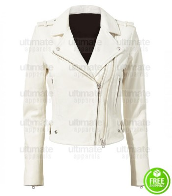 WHITE CROPPED LEATHER MOTO JACKET