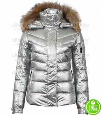 CAROLINE CHAMBERS SILVER FUR HOODIE FAUX LEATHER JACKET