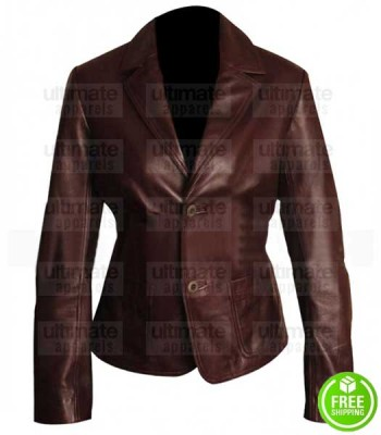 WOMAN'S TWO BUTTON BROWN LEATHER BLAZER JACKET